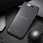 Transparent Crystal Hard Rigid Case Back Cover S02 for Samsung Galaxy A80 Black