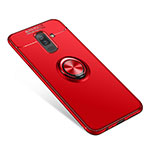 Ultra-thin Silicone Gel Soft Case Cover with Finger Ring Stand for Samsung Galaxy A9 Star Lite Red