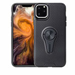 Ultra-thin Silicone Gel Soft Case Cover with Magnetic Finger Ring Stand A01 for Apple iPhone 11 Pro Black
