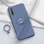 Ultra-thin Silicone Gel Soft Case Cover with Magnetic Finger Ring Stand A01 for Huawei Enjoy 10S Gray