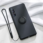 Ultra-thin Silicone Gel Soft Case Cover with Magnetic Finger Ring Stand A01 for Oppo Find X2 Neo Black