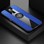 Ultra-thin Silicone Gel Soft Case Cover with Magnetic Finger Ring Stand A01 for Xiaomi Redmi K30 5G Blue