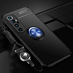 Ultra-thin Silicone Gel Soft Case Cover with Magnetic Finger Ring Stand A04 for Xiaomi Mi 10 Ultra Blue and Black