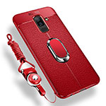 Ultra-thin Silicone Gel Soft Case Cover with Magnetic Finger Ring Stand for Samsung Galaxy A6 Plus Red