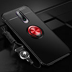 Ultra-thin Silicone Gel Soft Case Cover with Magnetic Finger Ring Stand for Xiaomi Redmi K30 5G Red and Black