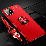 Ultra-thin Silicone Gel Soft Case Cover with Magnetic Finger Ring Stand N03 for Apple iPhone 12 Red