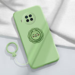Ultra-thin Silicone Gel Soft Case Cover with Magnetic Finger Ring Stand T01 for Xiaomi Mi 10T Lite 5G Matcha Green