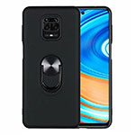 Ultra-thin Silicone Gel Soft Case Cover with Magnetic Finger Ring Stand T01 for Xiaomi Redmi Note 9 Pro Black