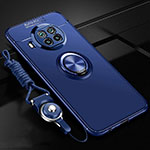 Ultra-thin Silicone Gel Soft Case Cover with Magnetic Finger Ring Stand T02 for Xiaomi Mi 10T Lite 5G Blue
