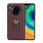 Ultra-thin Silicone Gel Soft Case Cover with Magnetic Finger Ring Stand T03 for Huawei Mate 30 Pro 5G Brown