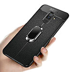 Ultra-thin Silicone Gel Soft Case with Magnetic Finger Ring Stand A02 for Samsung Galaxy A6 Plus Black
