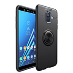 Ultra-thin Silicone Gel Soft Case with Magnetic Finger Ring Stand for Samsung Galaxy A6 (2018) Dual SIM Black