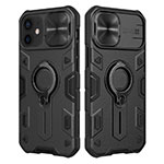 Ultra-thin Silicone TPU Soft Case with Magnetic Finger Ring Stand for Apple iPhone 12 Black