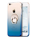 Ultra-thin Transparent Gel Gradient Soft Case with Finger Ring Stand for Apple iPhone SE (2020) Blue