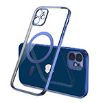 Ultra-thin Transparent TPU Soft Case Cover with Mag-Safe Magnetic M01 for Apple iPhone 12 Blue