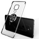 Ultra-thin Transparent TPU Soft Case Cover with Magnetic Finger Ring Stand C01 for Huawei Mate 20 Black
