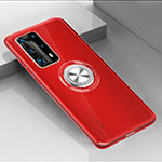 Ultra-thin Transparent TPU Soft Case Cover with Magnetic Finger Ring Stand C01 for Huawei P40 Pro+ Plus Red