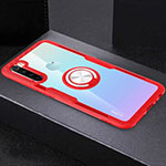 Ultra-thin Transparent TPU Soft Case Cover with Magnetic Finger Ring Stand C01 for Xiaomi Redmi Note 8 Red