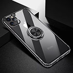 Ultra-thin Transparent TPU Soft Case Cover with Magnetic Finger Ring Stand C03 for Apple iPhone 11 Pro Black