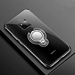 Ultra-thin Transparent TPU Soft Case Cover with Magnetic Finger Ring Stand S01 for Huawei Mate 20 Pro Black