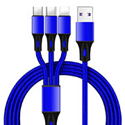 Charger Lightning USB Data Cable Charging Cord and Android Micro USB Type-C ML09 Blue