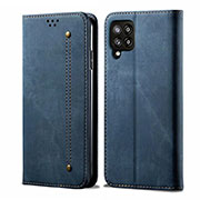 Cloth Case Stands Flip Cover for Samsung Galaxy A42 5G Blue