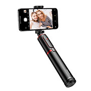 Extendable Folding Handheld Selfie Stick Tripod Bluetooth Remote Shutter Universal T34 Red and Black