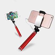 Extendable Folding Wired Handheld Selfie Stick Universal S20 Red