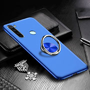 Hard Rigid Plastic Matte Finish Case Cover with Magnetic Finger Ring Stand P01 for Xiaomi Redmi Note 8 Blue