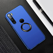 Hard Rigid Plastic Matte Finish Case Cover with Magnetic Finger Ring Stand P02 for Xiaomi Redmi Note 8 Blue