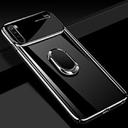 Hard Rigid Plastic Matte Finish Case Cover with Magnetic Finger Ring Stand P03 for Xiaomi Redmi Note 8 Black
