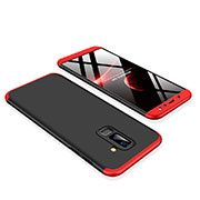 Hard Rigid Plastic Matte Finish Front and Back Cover Case 360 Degrees for Samsung Galaxy A6 Plus Red and Black