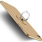 Hard Rigid Plastic Matte Finish Snap On Case with Finger Ring Stand for Apple iPhone SE (2020) Gold