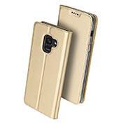 Leather Case Stands Flip Cover for Samsung Galaxy A8 (2018) Duos A530F Gold