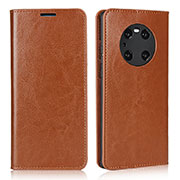 Leather Case Stands Flip Cover K02 Holder for Huawei Mate 40 Pro Light Brown