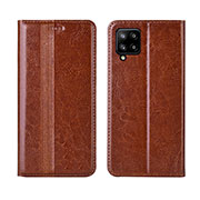 Leather Case Stands Flip Cover L01 Holder for Samsung Galaxy A42 5G Light Brown