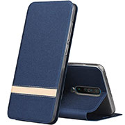 Leather Case Stands Flip Cover L02 Holder for Xiaomi Redmi K30 5G Blue
