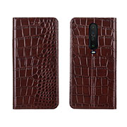 Leather Case Stands Flip Cover L03 Holder for Xiaomi Redmi K30 5G Brown