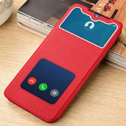 Leather Case Stands Flip Cover L06 Holder for Xiaomi Redmi Note 8 Pro Red