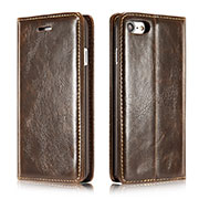 Leather Case Stands Flip Cover T01 Holder for Apple iPhone SE (2020) Brown