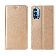 Leather Case Stands Flip Cover T01 Holder for Oppo Reno4 Pro 5G Gold