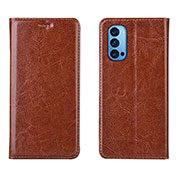 Leather Case Stands Flip Cover T02 Holder for Oppo Reno4 Pro 5G Brown