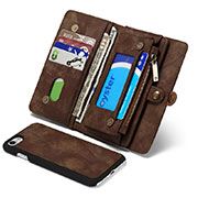 Leather Case Stands Flip Cover T03 Holder for Apple iPhone SE (2020) Brown