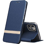 Leather Case Stands Flip Cover T04 Holder for Apple iPhone 11 Pro Blue