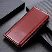 Leather Case Stands Flip Cover T05 Holder for Oppo Reno4 Pro 5G Brown