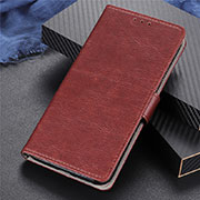 Leather Case Stands Flip Cover T06 Holder for Oppo Reno4 Pro 5G Brown