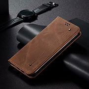 Leather Case Stands Flip Cover T06 Holder for Xiaomi Mi 10 Pro Brown