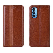 Leather Case Stands Flip Cover T07 Holder for Oppo Reno4 Pro 5G Orange