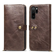 Leather Case Stands Flip Cover T10 Holder for Huawei P30 Pro Brown