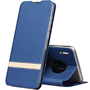 Leather Case Stands Flip Cover T12 Holder for Huawei Mate 30 Pro Blue